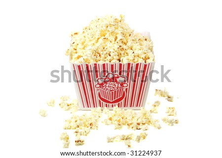 fresh hot pop corn in a tub isolated on white - stock photo