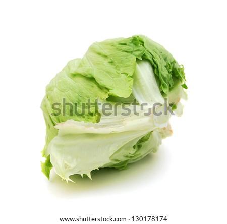 fresh iceberg lettuce salad isolated on white - stock photo
