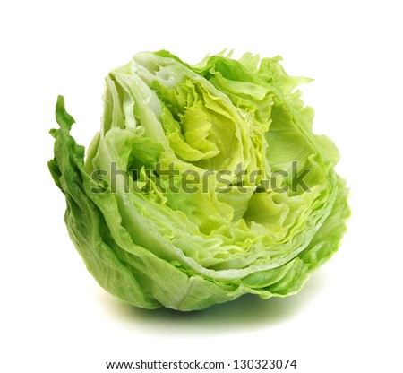 fresh iceberg salad isolated on white - stock photo
