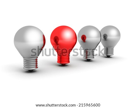 fresh idea concept red light bulb. 3d render illustration
