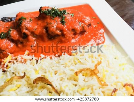 Fresh indian food in a restaurant - stock photo