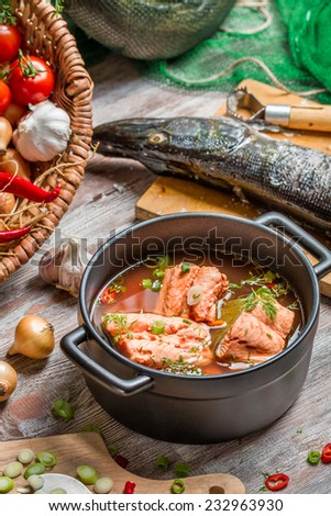 Fresh ingredients for fish soup - stock photo