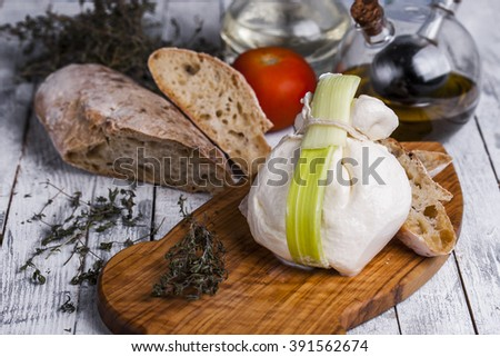 fresh Italian cheese burrata mozzarella with ciabatta - stock photo