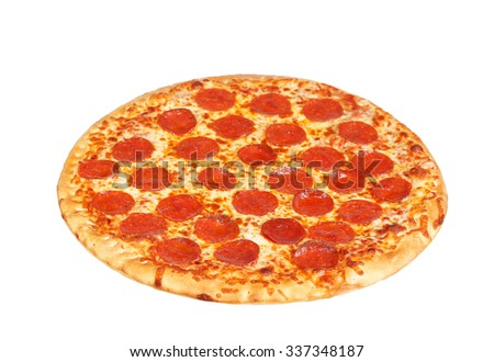 fresh italian classic original pepperoni pizza isolated on white background