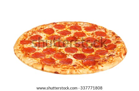 fresh italian classic original pepperoni pizza isolated on white background - stock photo