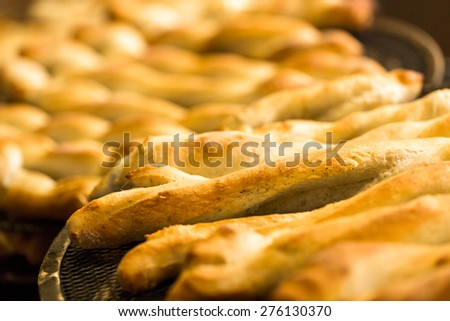 Fresh Italian garlic bread baked in restaurant.
