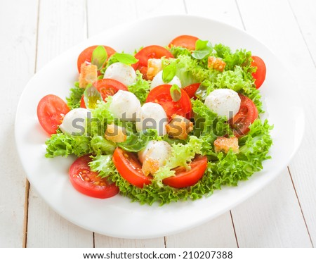 Fresh Italian salad with mozzarella cheese pearls on a bed of frilly lettuce with tomatoes and friend crunchy bread croutons served on a plate on white boards - stock photo