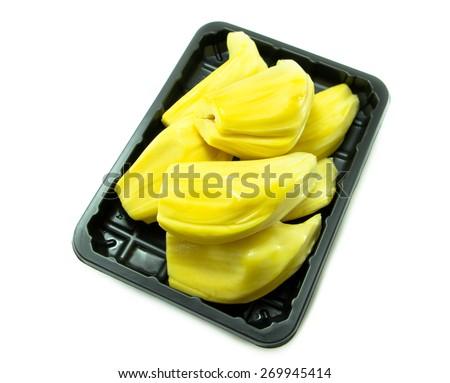 Fresh Jackfruit in plate on white  background - stock photo