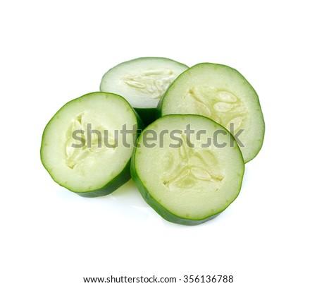 Fresh japanese cucumber sliced isolated on white - stock photo