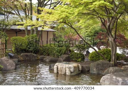 Japanese Zen Garden Scenic Stone Pathway Stock Photo
