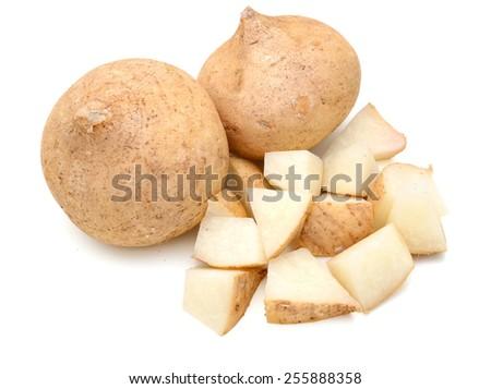 fresh jicama vegetables on white background  - stock photo