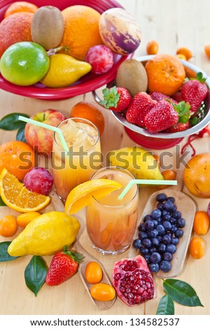Fresh juice from tropical fruits
