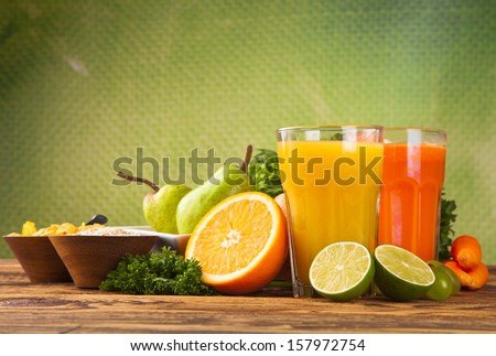 Fresh juice,Healthy drink on wood  - stock photo