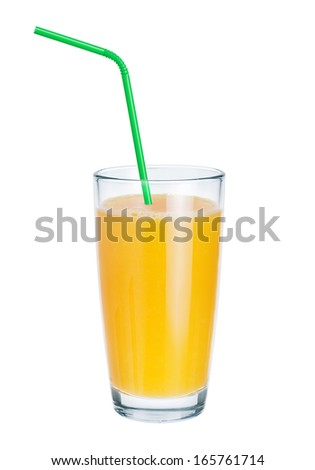Fresh juice in glass and drinking straws on white background