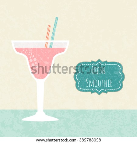 Fresh juice made in flat style. Fruit smoothie. Healthy life concept. Organic raw shake.  - stock photo