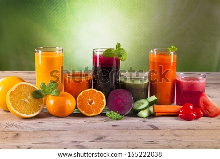 Fresh juice, mix fruits and vegetable  - stock photo