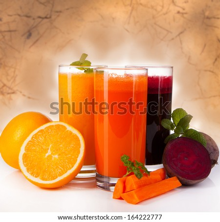 Fresh juice, mix fruits and vegetable with abstract background