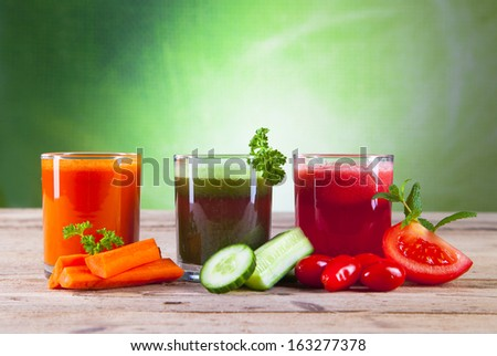 fresh juice, mix vegetable  - stock photo