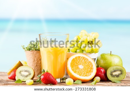 Fresh juice orange, Healthy drink on wood, breakfast concept, Nature fruits and vegetable  - stock photo