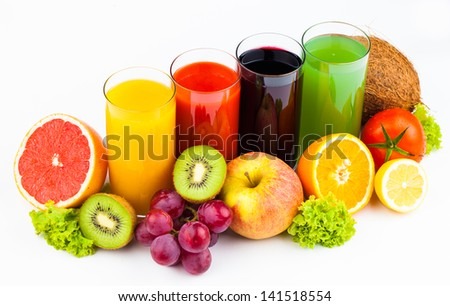 Fresh  juices and fruits isolated on white - stock photo