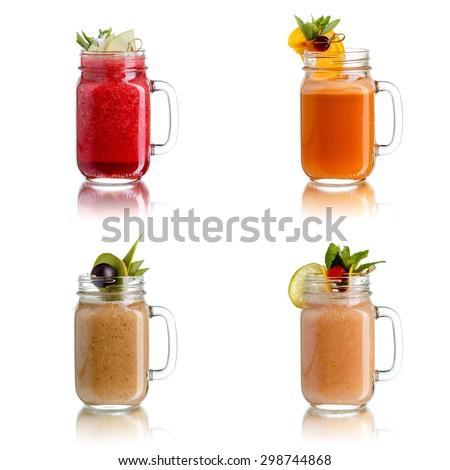 Fresh juices in jar - stock photo