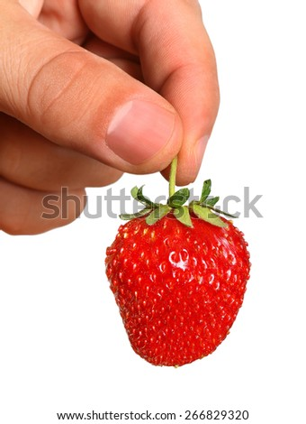 Fresh, juicy and healthy strawberries in the hands, isolated - stock photo