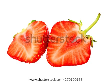 fresh, juicy and healthy strawberry, red on white - stock photo