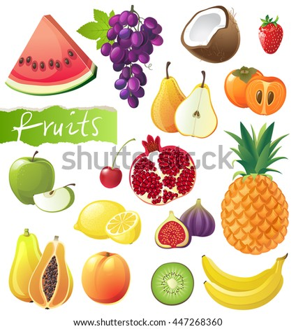 Fresh juicy fruits set