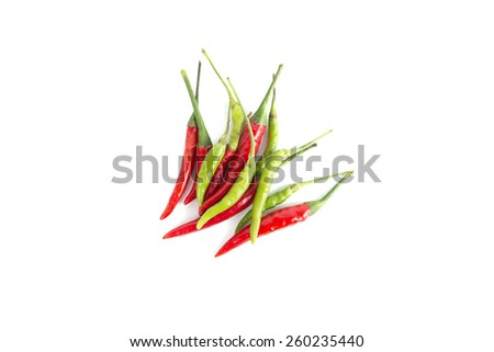 Fresh juicy Green and red pepper isolated on a white background - stock photo
