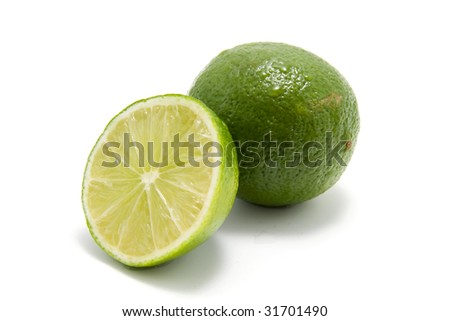 fresh juicy green lime isolated on white background