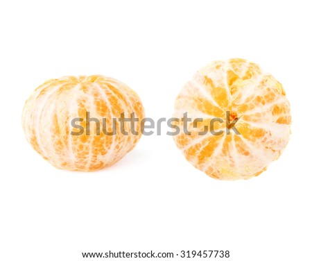 Fresh juicy peeled cleaned tangerines ripe fruits isolated over the white background - stock photo