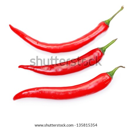 Fresh juicy peppers isolated on a white background - stock photo