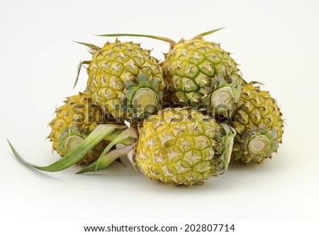 Fresh juicy pineapple isolated on white background - stock photo
