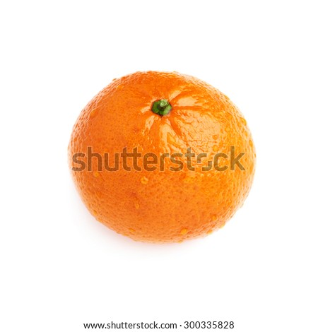 Fresh juicy tangerine ripe fruit covered with the multiple water drops, isolated over the white background - stock photo
