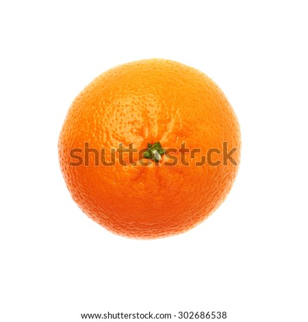 Fresh juicy tangerine ripe fruit isolated over the white background, top view - stock photo