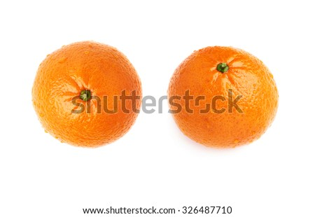 Fresh juicy tangerines ripe fruits covered with the multiple water drops, isolated over the white background set - stock photo