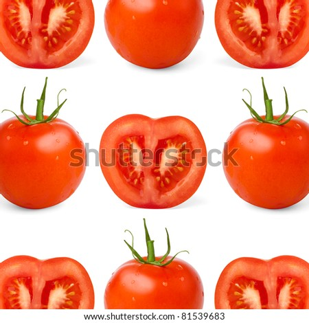 fresh juicy tomatoes on white background
