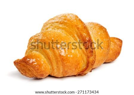fresh just baked croissant on white background, isolated - stock photo