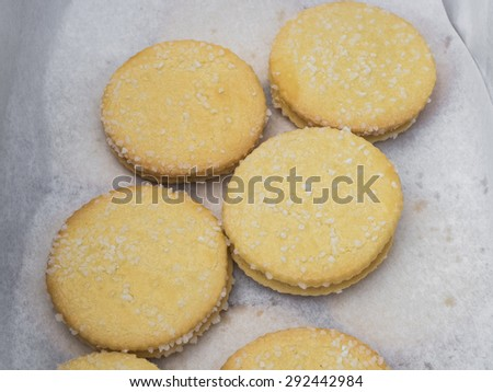 Fresh just baked shortbread cookies. - stock photo