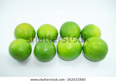Fresh key limes on white background. Limau nipis .Selective focus