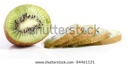 Fresh kiwi fruit against white background