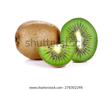 Fresh kiwi fruit on white background - stock photo
