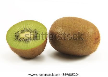 Fresh kiwi fruit on white background. - stock photo