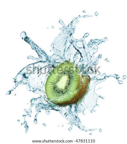 Fresh kiwi jumping into water with a splash - stock photo