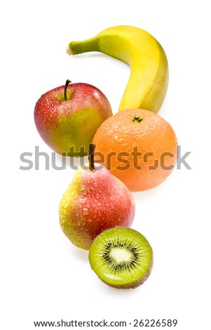 Fresh kiwi, pear, orange, apple and banana
