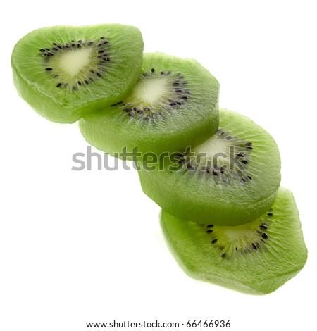 fresh kiwi sliced prepared close up isolated on white background - stock photo