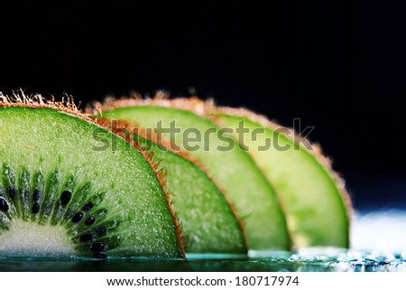 fresh kiwi slices - stock photo