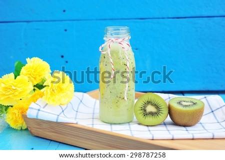 Fresh kiwi smoothie. - stock photo