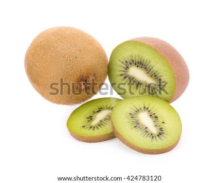 fresh kiwi, Whole kiwi fruit and his sliced segments isolated on white background. - stock photo