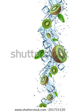 Fresh Kiwi with water splash over white background - stock photo